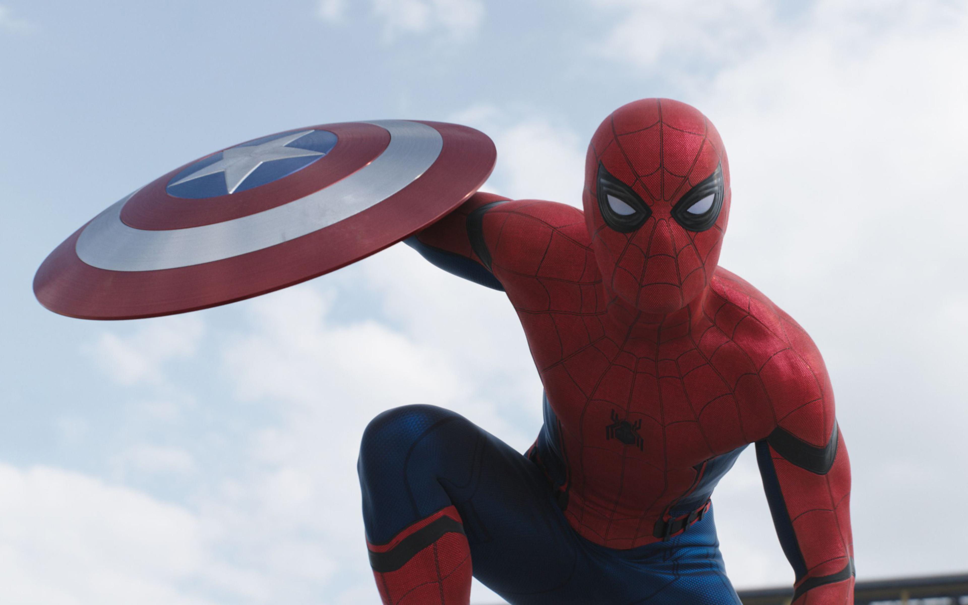 Spider Man Captain America Civil War Movie Shield Wallpaper 3840x2400
