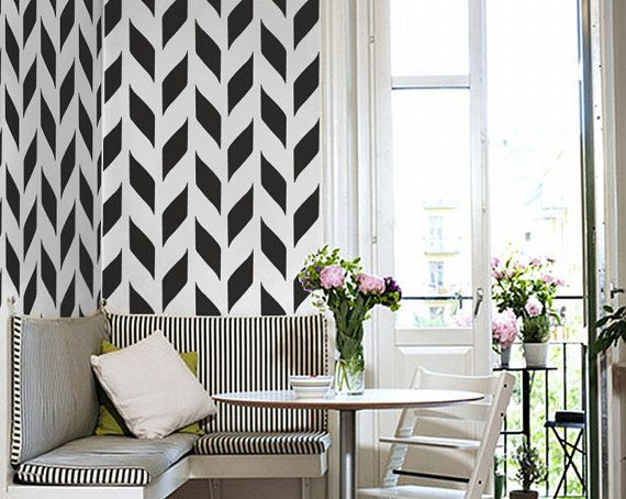 vinyl temporary removable wallpaper wall decal  Black and White 570x454
