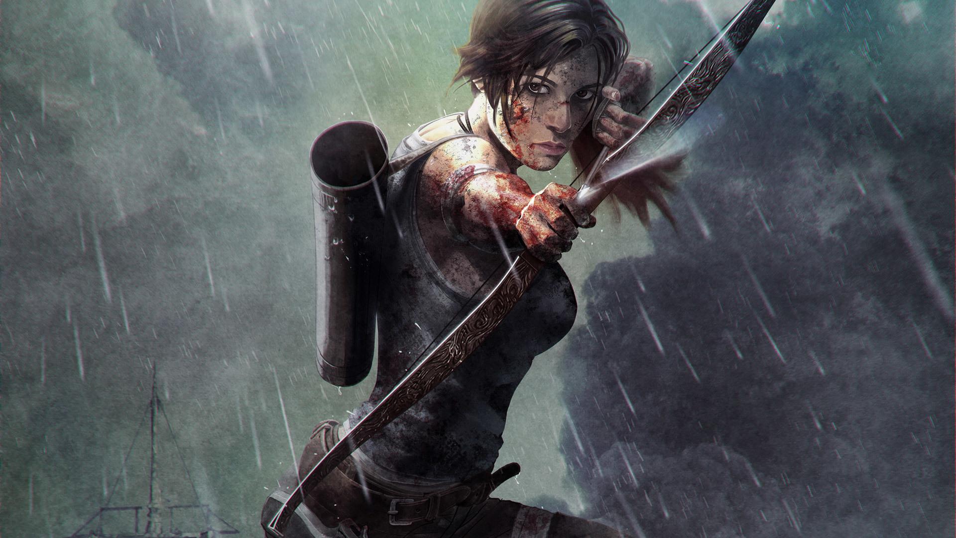 Tomb Raider 2013 Archers Warriors Rain Games Girls rain wallpaper 1920x1080