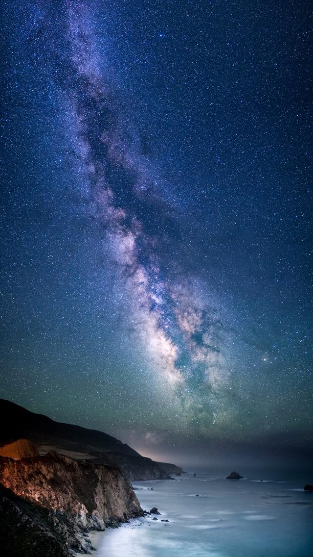 Milky Way Over Sea Shore iPhone 5 Wallpaper iPod Wallpaper HD 640x1136