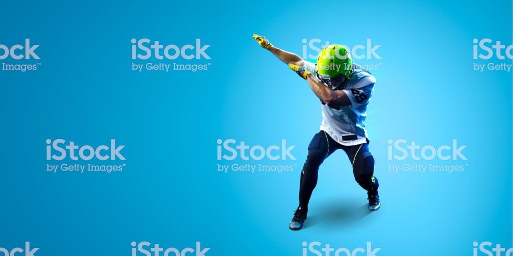 American Football Sportsman Player On Blue Gradient Background 1024x512