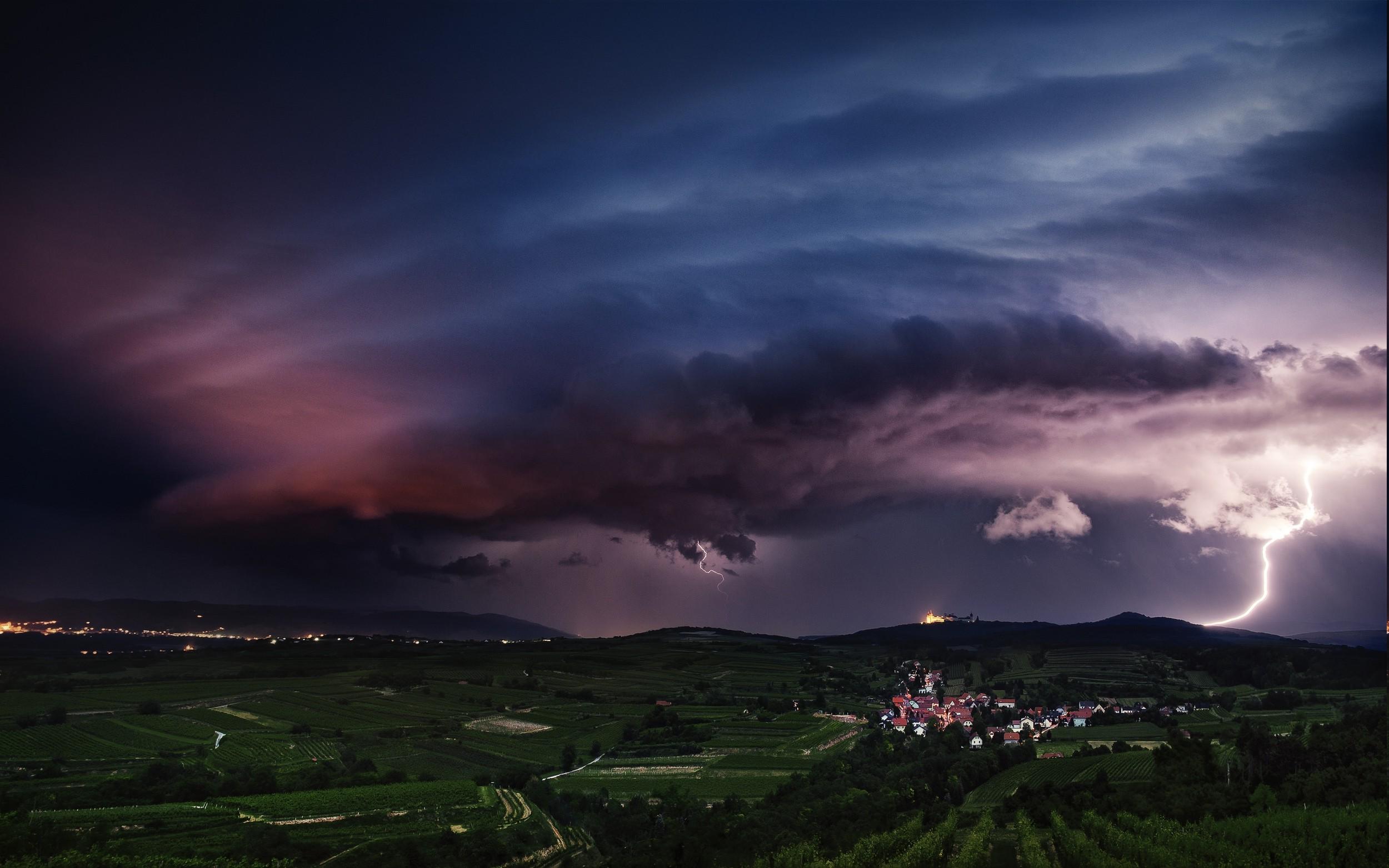 landscape Nature Lightning Storm Supercell Hill 2500x1563