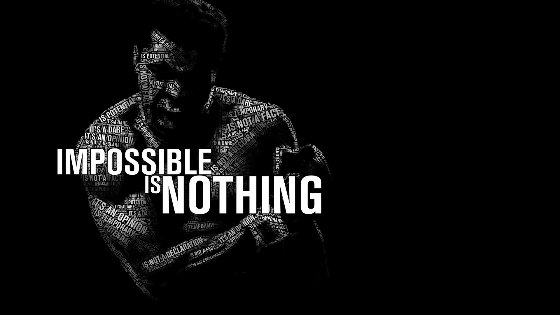 Muhammad Ali quote impossible is nothing black and 1920x1080