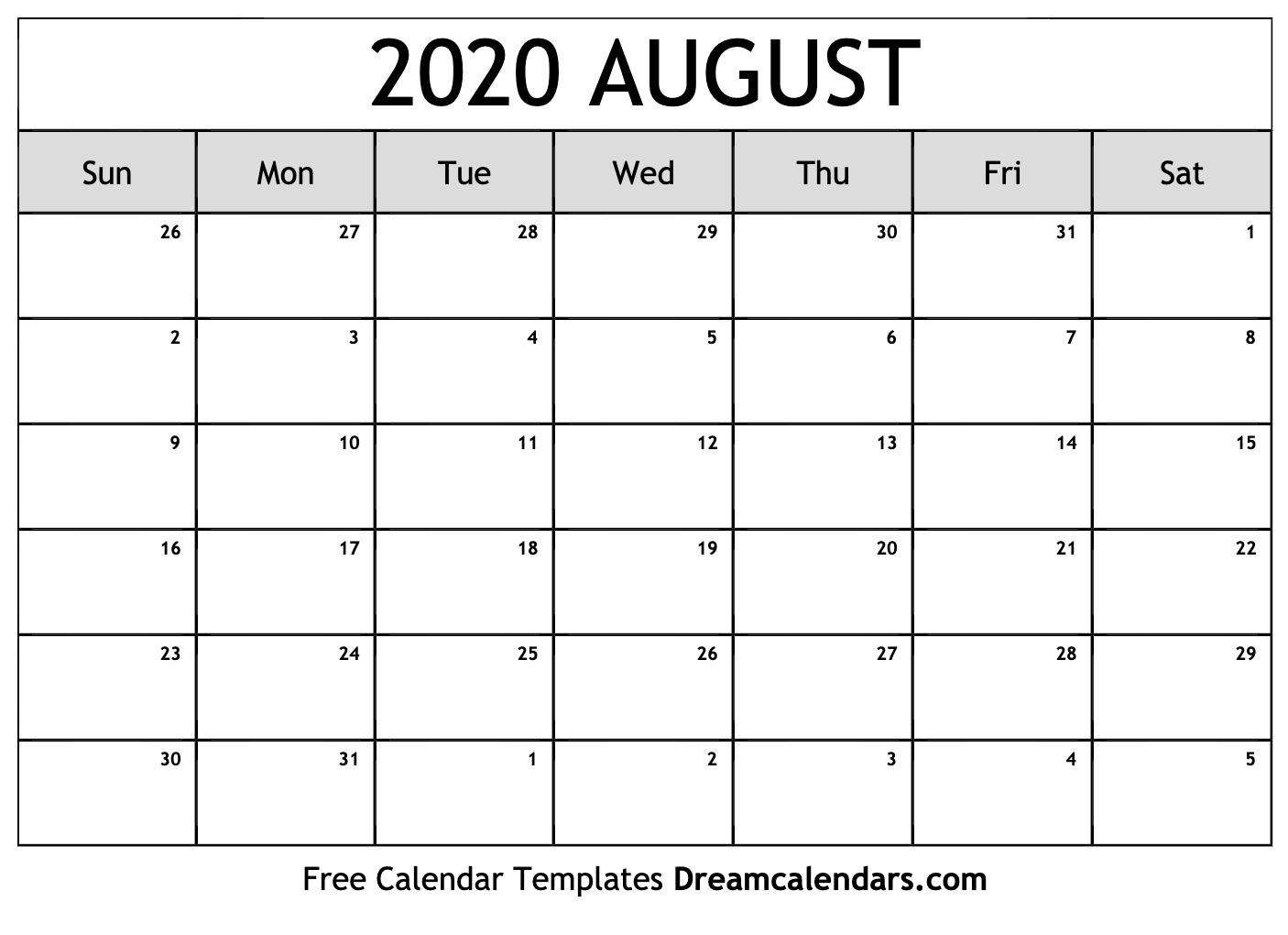 August 2020 Printable Calendar Dream Calendars 1406x1020