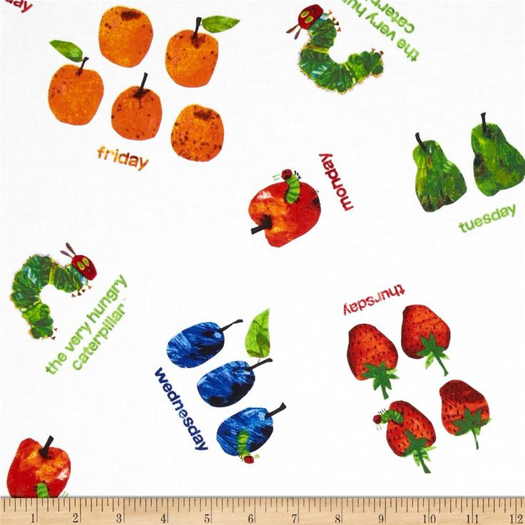 The Very Hungry Caterpillar Dots Small Scattered Fruit White 736x736