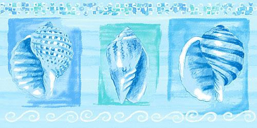 Blue Shells Wall Border Roll   Beach Decor Wallpaper Border 500x250