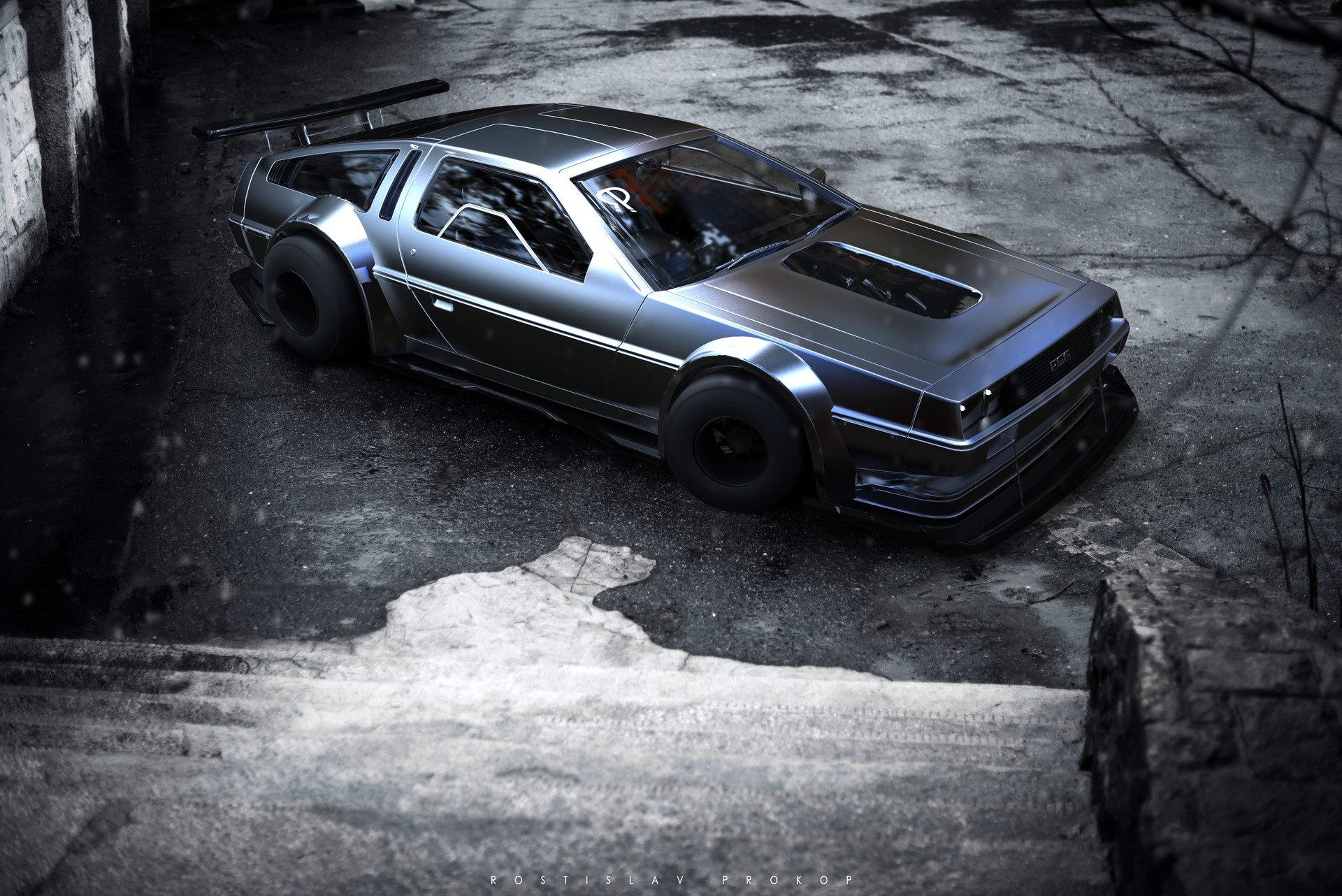 Wallpaper of DeLorean Vehicle Black Car background HD image 1920x1282