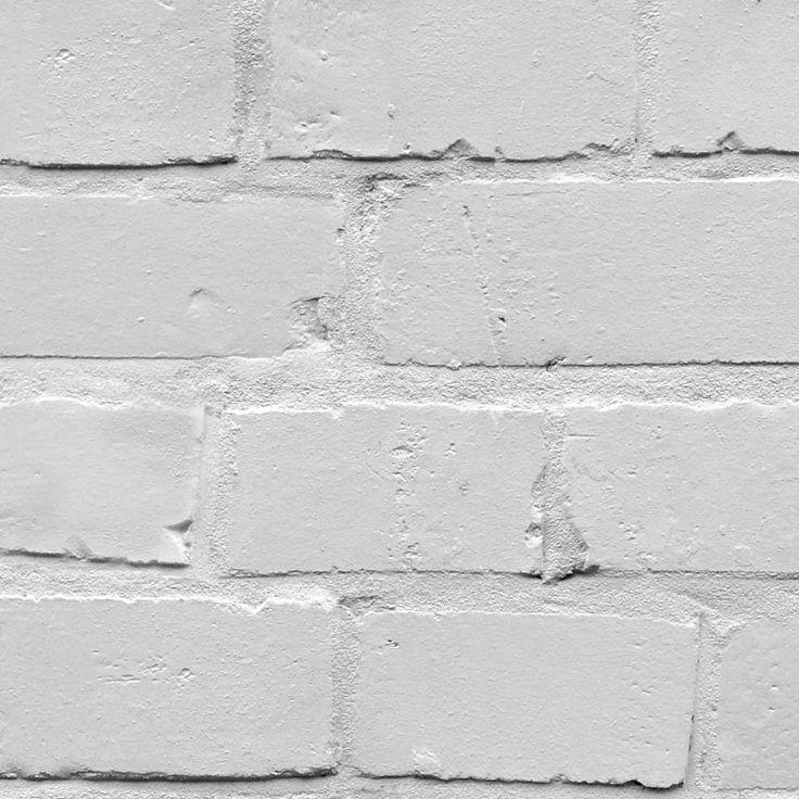 white brick effect wallpaper Exposed walls Pinterest 736x736