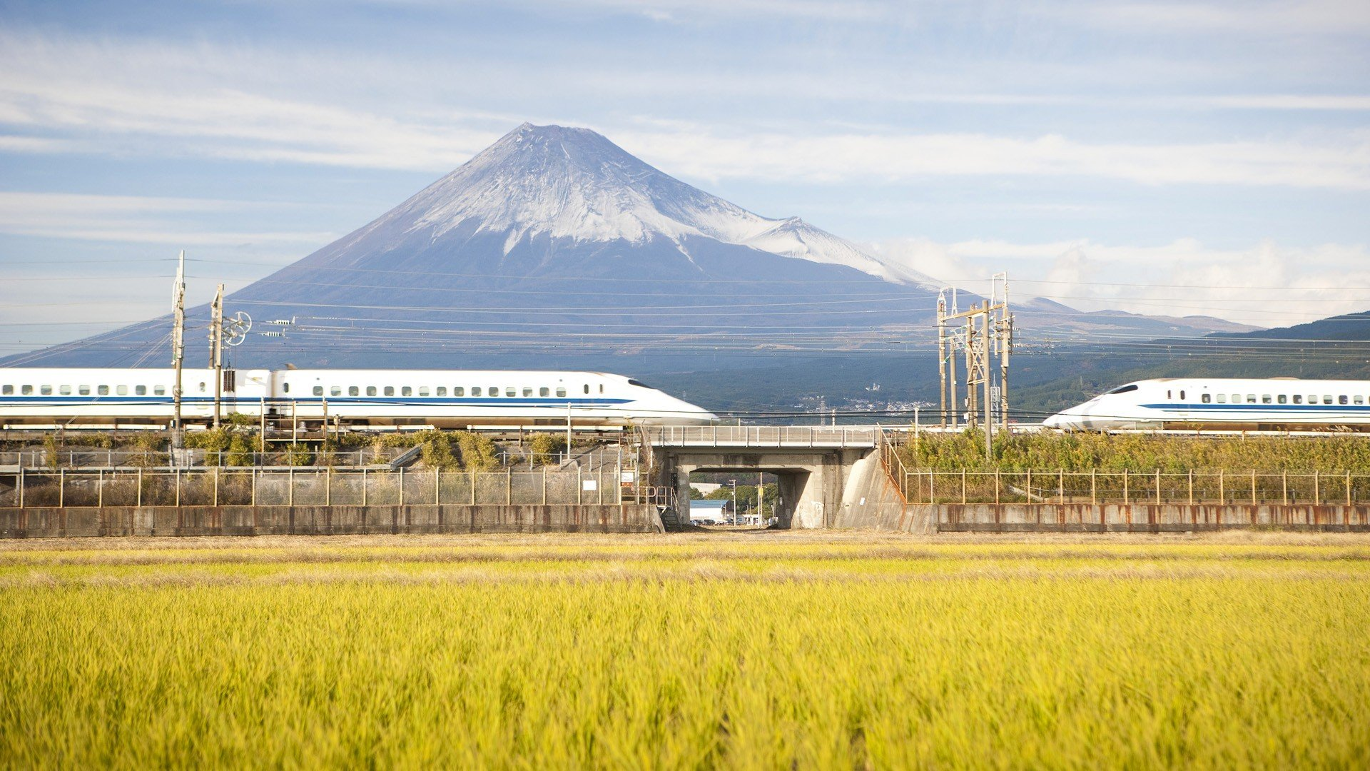 Japan Mount Fuji trains Shinkansen wallpaper 1920x1080 1920x1080