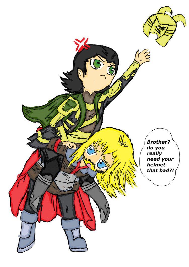 Chibi Loki and Thor by Tashiyoukai 752x1063