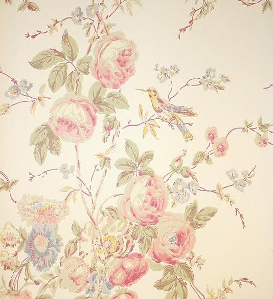 Hummingbird Wallpaper A lovely soft floral bouquet design in muted 534x584