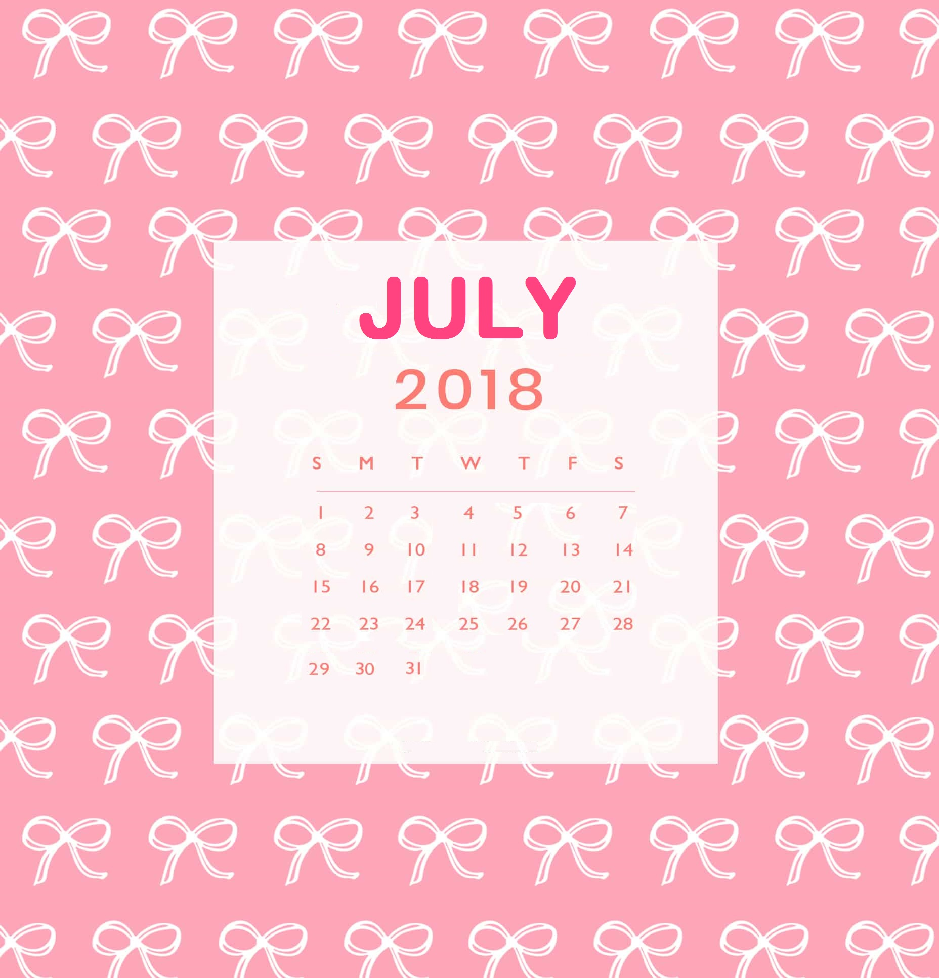 Cute July 2018 Calendar Pink Images Pictures JPG PNG   July 2019 1856x1933