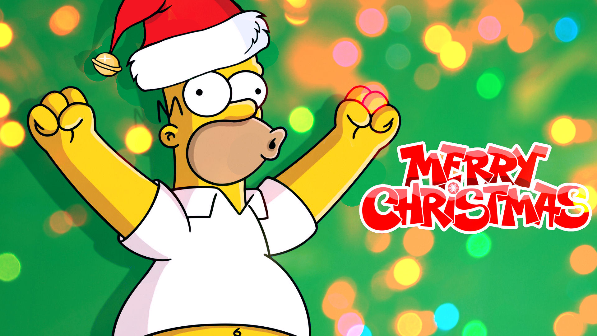 The Simpsons   Homers Merry Christmas Wallpaper by 1920x1080
