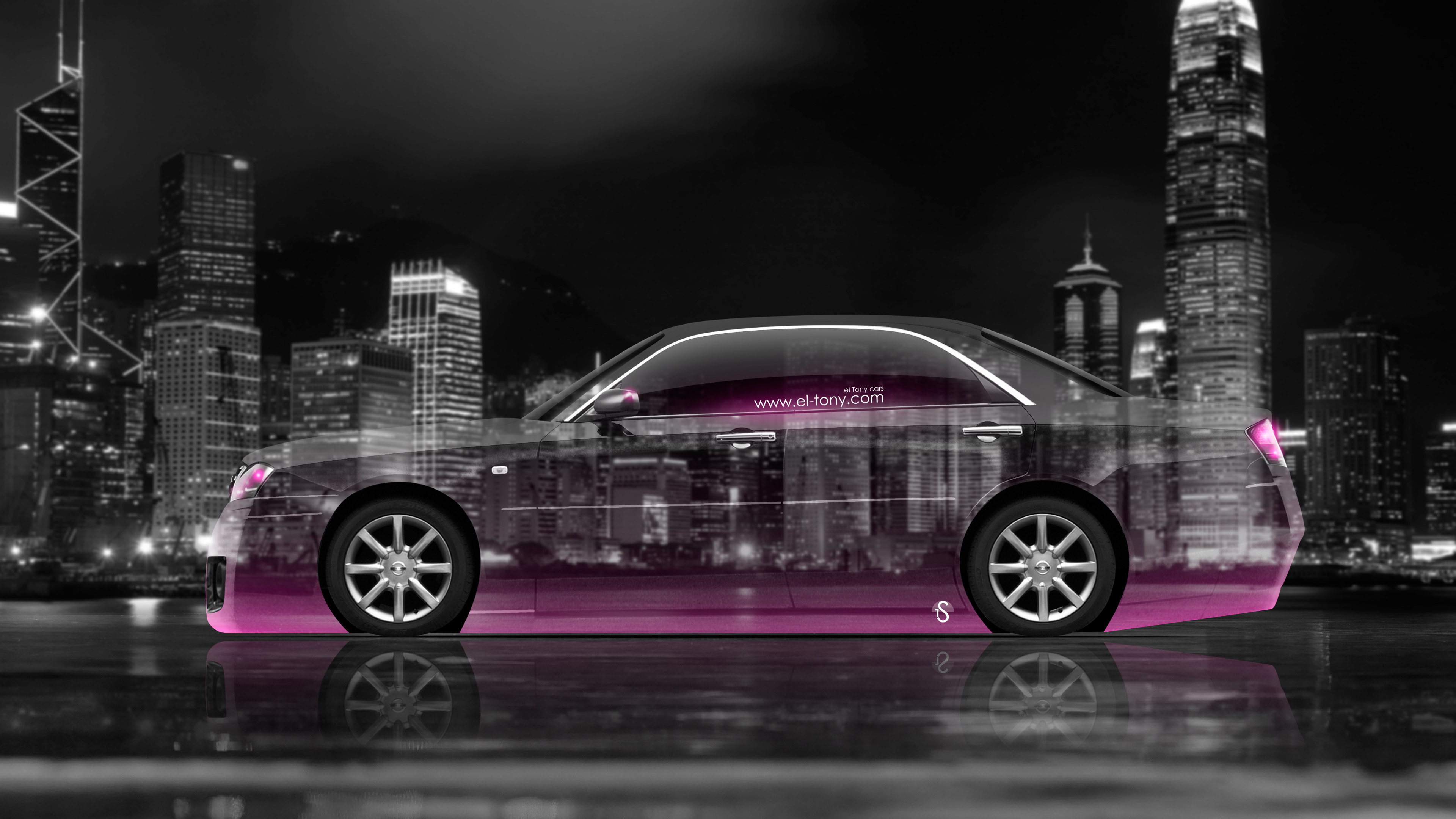Cedric JDM Tuning Side Crystal City Car 2015 Pink Neon 4K Wallpapers  3840x2160