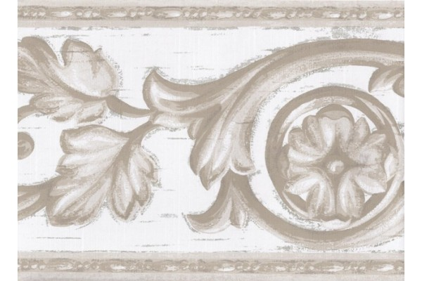 Home Olive Green White Molding Swirls Wallpaper Border 600x400
