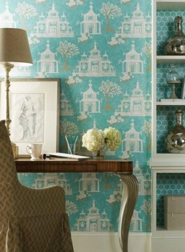 coordinating wallpaper in bookshelves home Pinterest 367x500