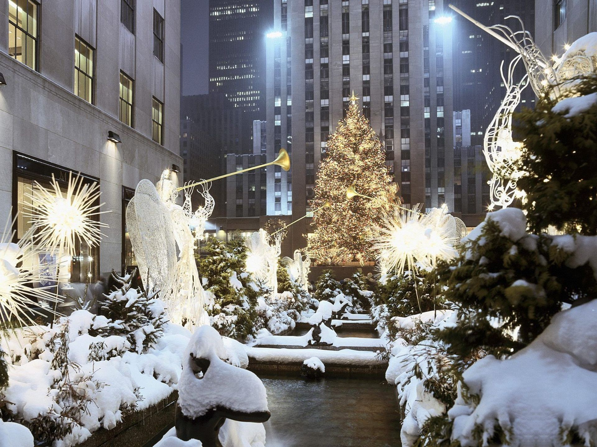 Wallpaper snow winter skyscrapers New York new year christmas 1920x1440