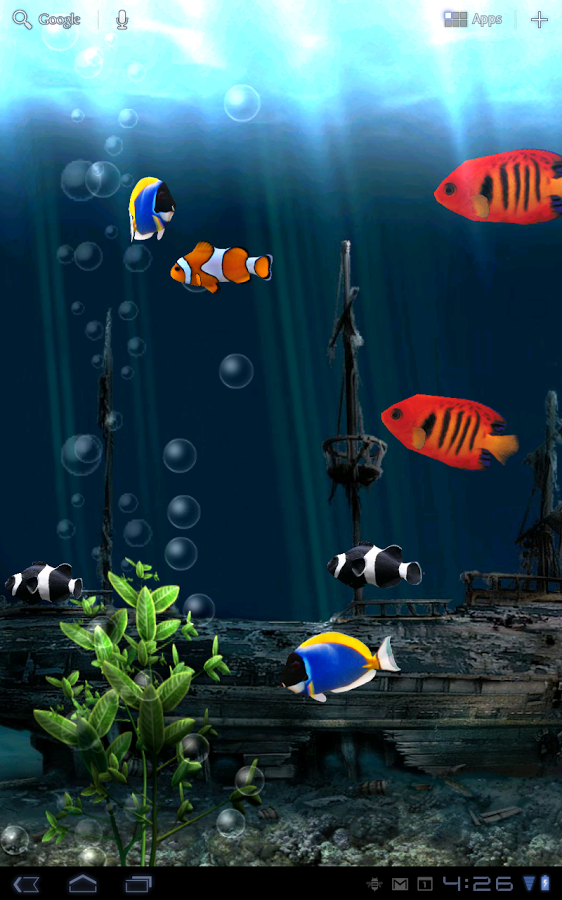 3d rendered live wallpaper background of a tropical fish tank with 562x900