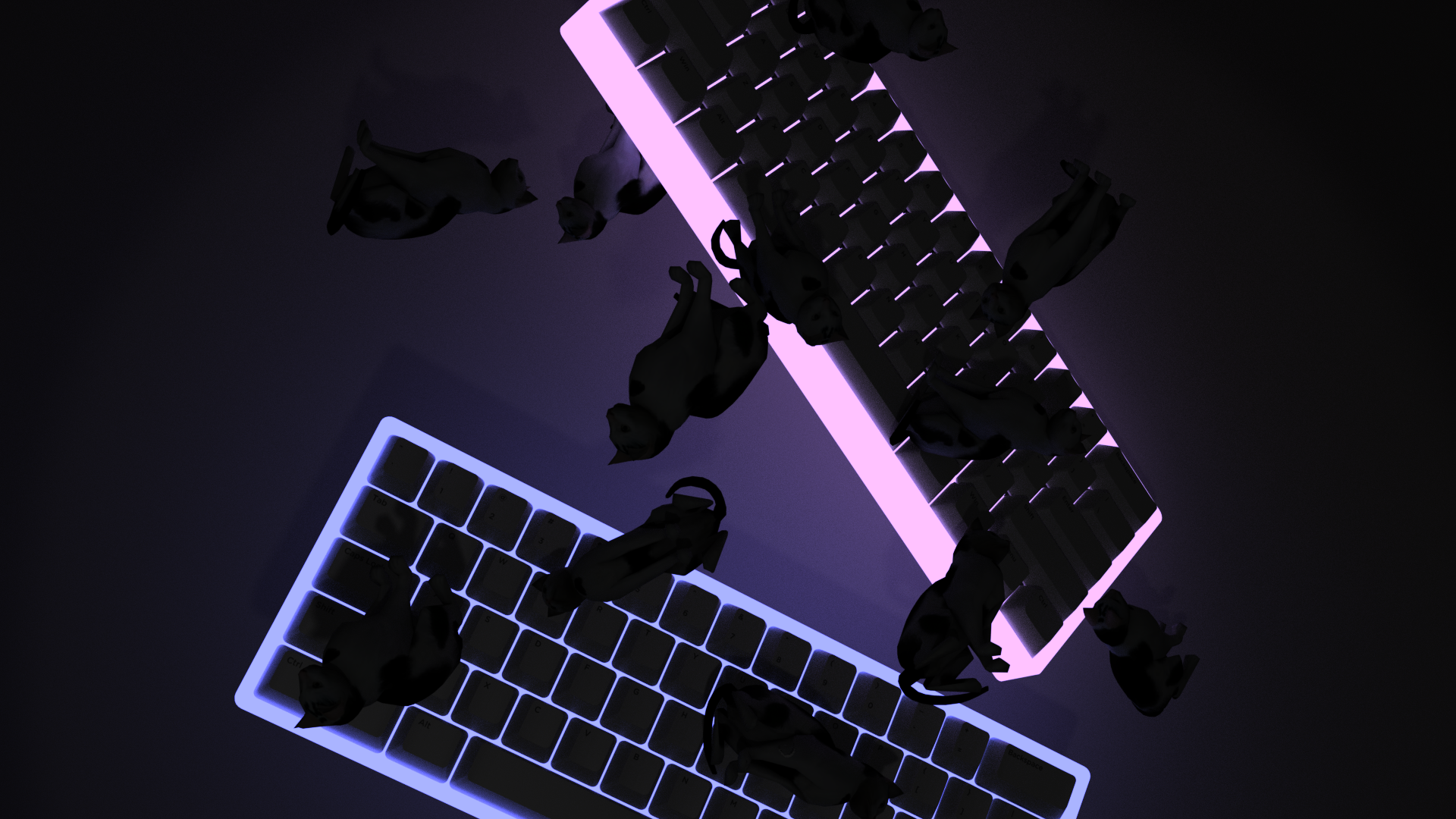 60 Keyboards falling with cats 4k aesthetic wallpaper 1920x1080