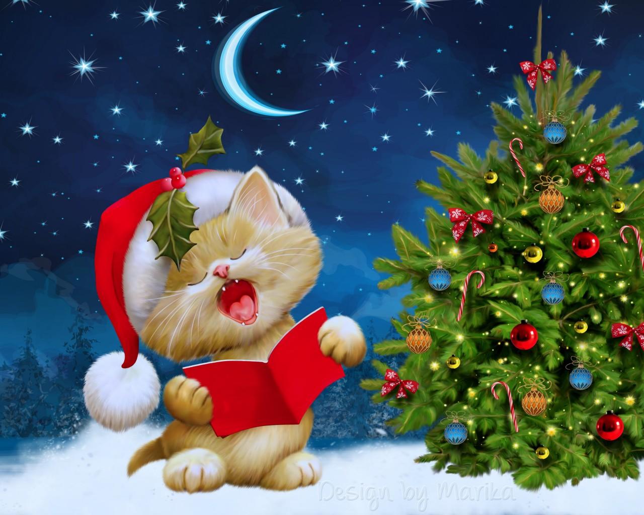 Kitten Singing Christmas Carols Wallpaper for Desktop 1280 x 1024 1280x1024