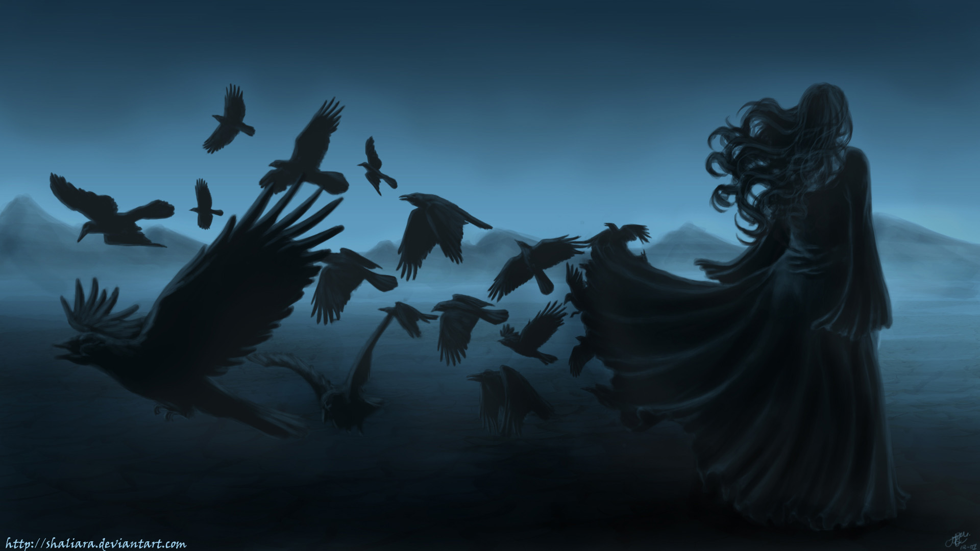 dark horror gothic women raven poe birds art mood wallpaper background 1920x1080