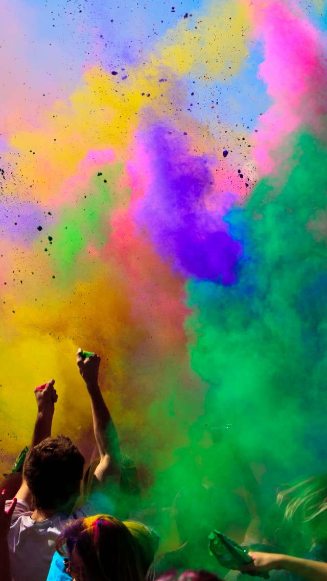 Wallpaper Holi Festival Of Colours Indian holiday spring 640x1138