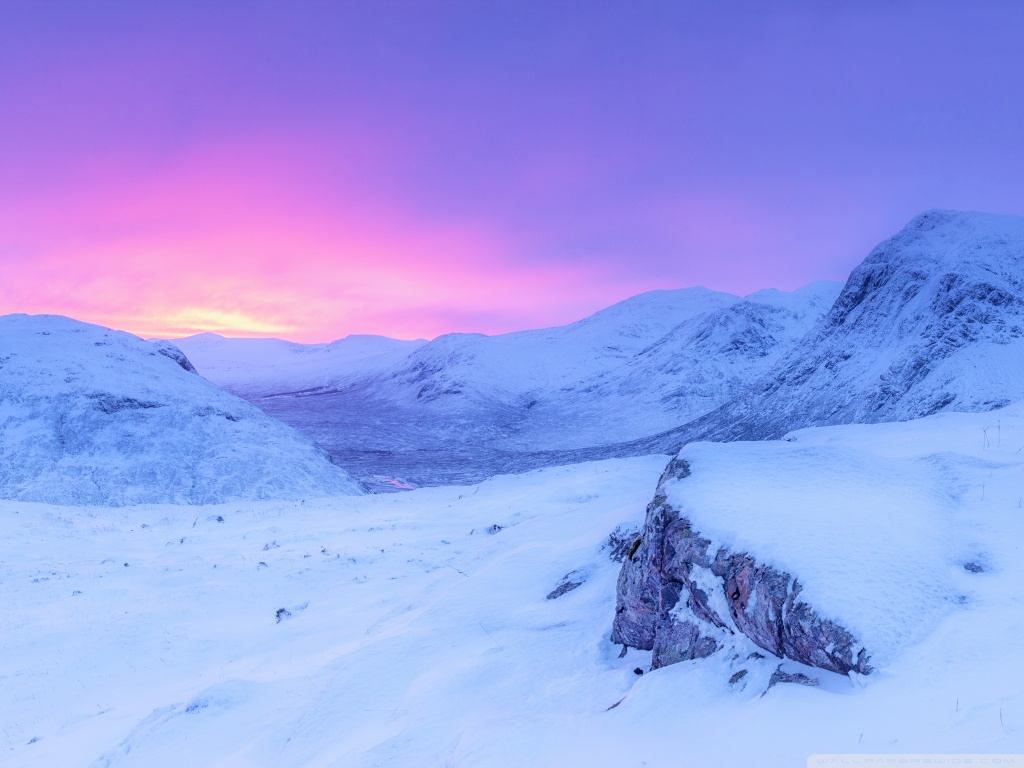 Pink Sunrise Snowy Mountains Winter 4K HD Desktop Wallpaper 1024x768