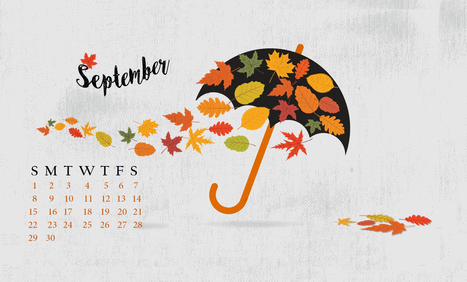 September 2019 Desktop Background Calendar Wallpaper 1604x968