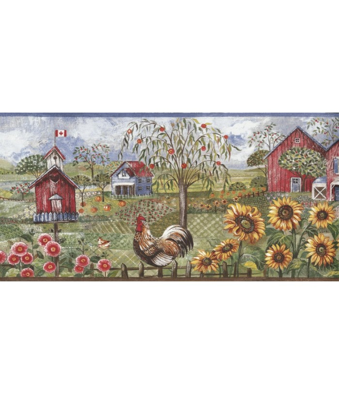 Blue Rooster Farm Wallpaper Border 700x812