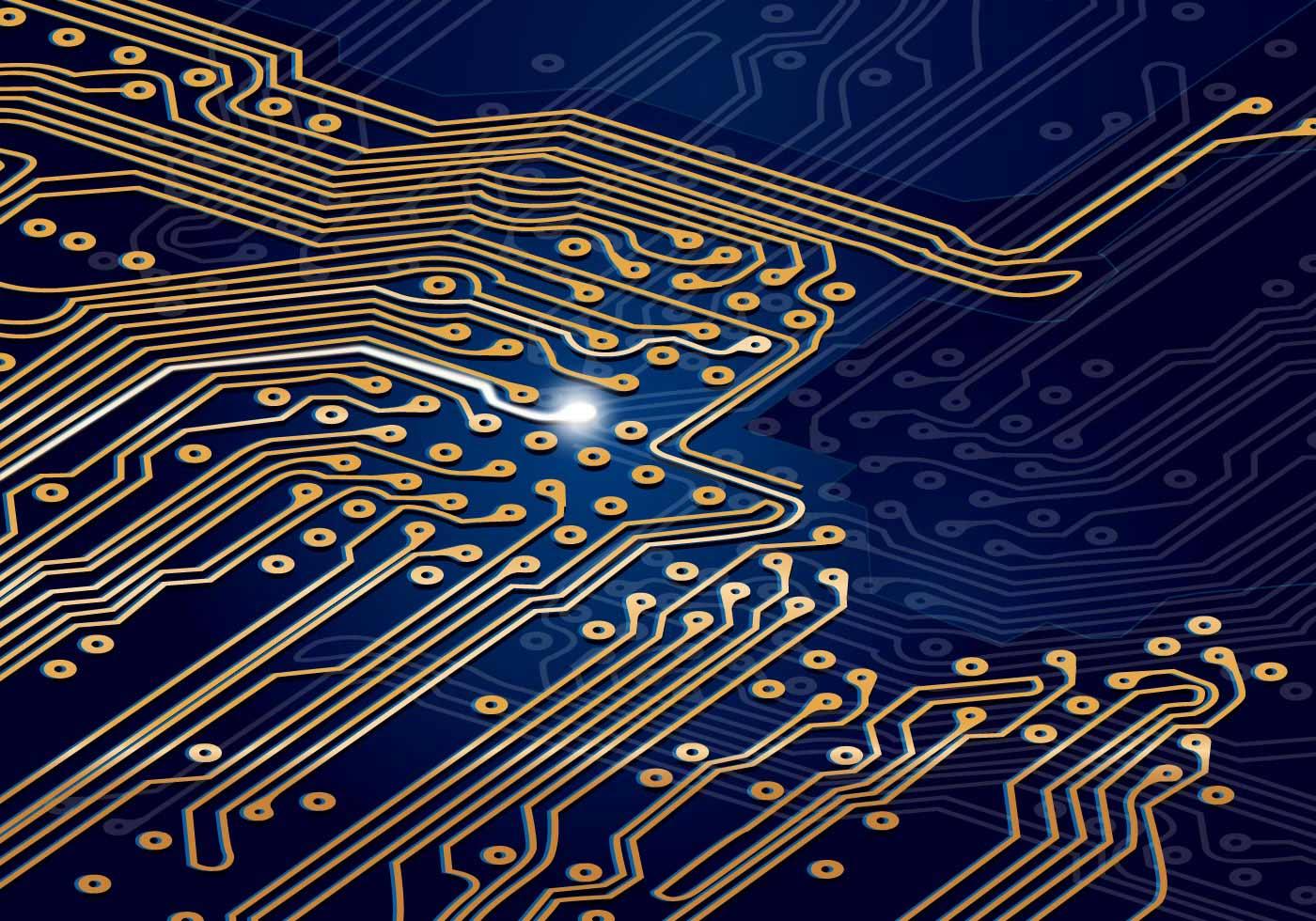 Blue Circuit Board Wallpaper Vector Circuit Board Blue