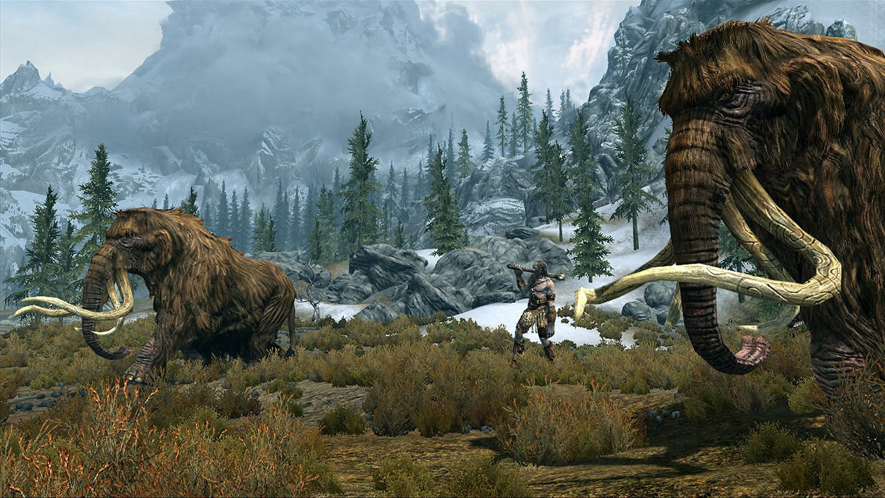 Big giant and two mammoths in this beautiful Skyrim wallpaper 1280x720