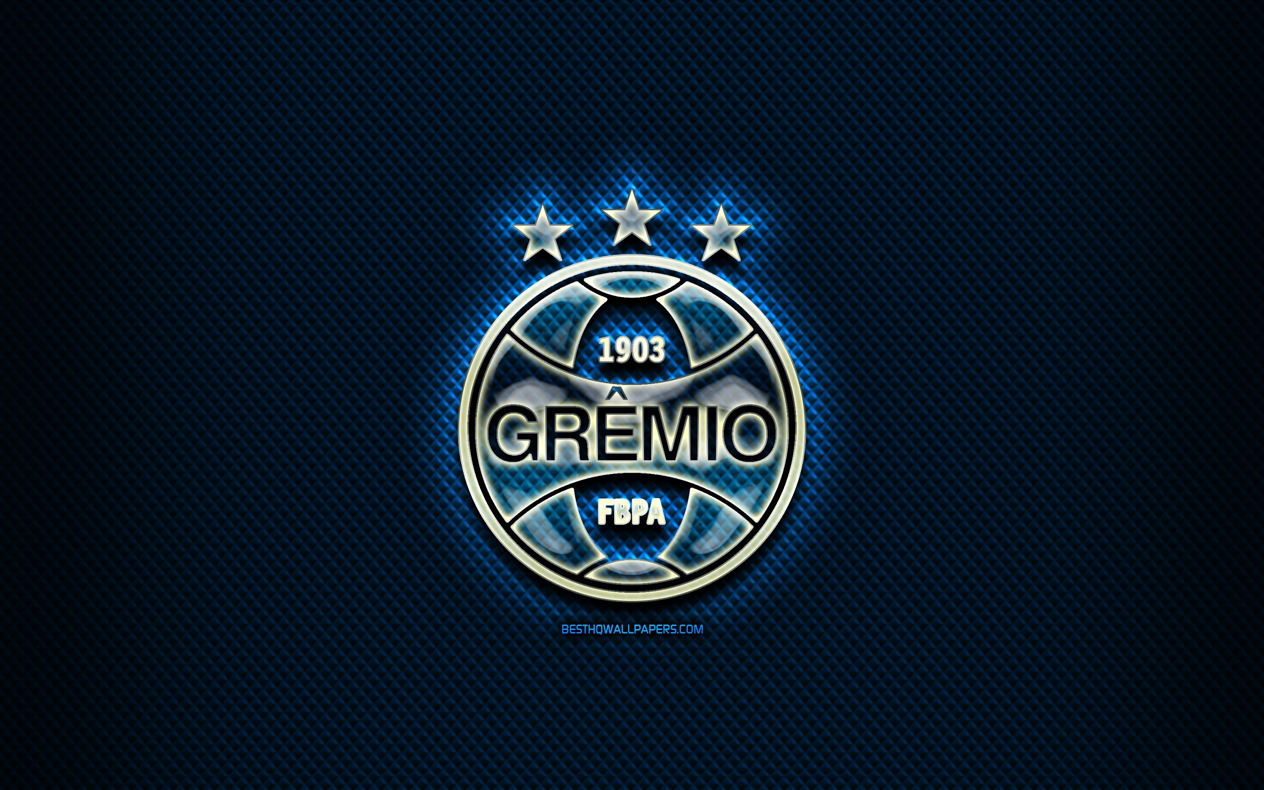 Download wallpapers Gremio FC glass logo blue rhombic background 2560x1600