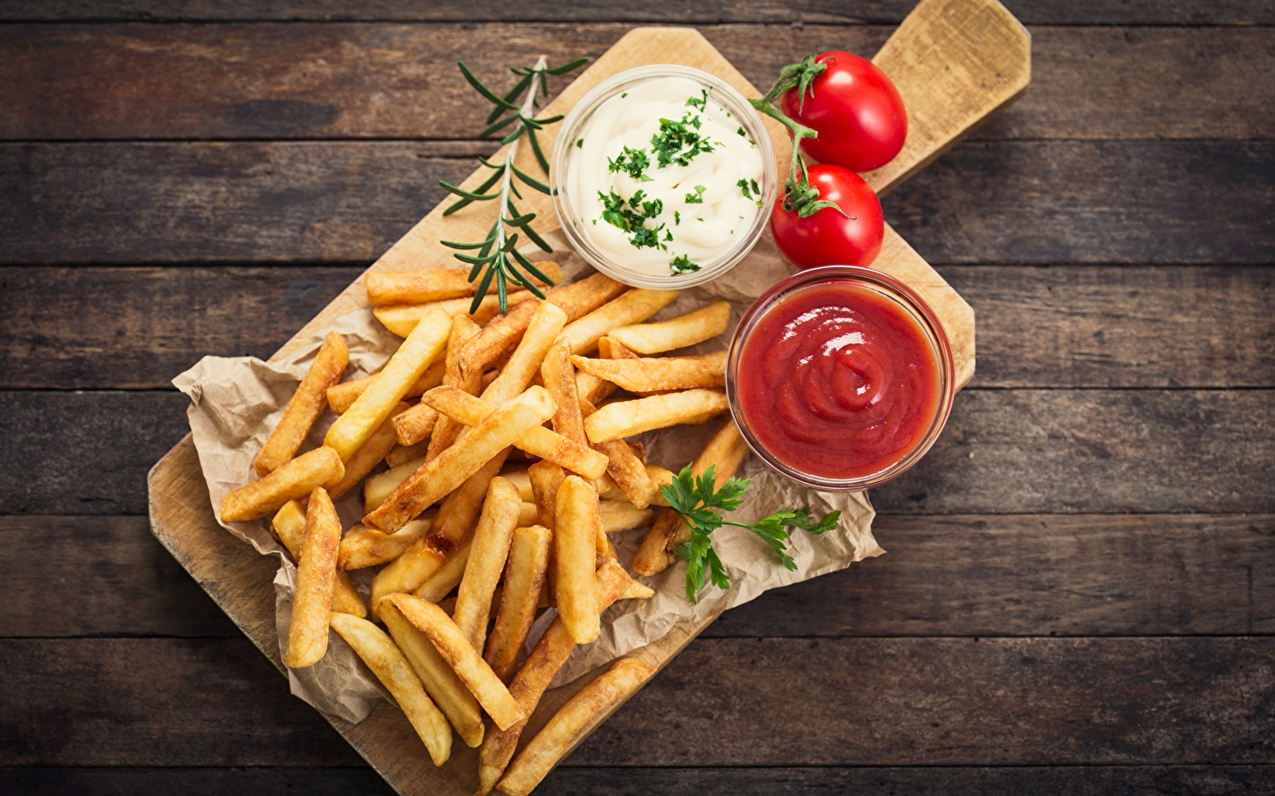 Images French fries Ketchup Fast food Food Cutting board 1440x900 1440x900