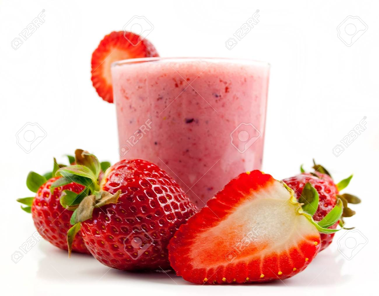 Healthy Strawberry Smoothie Isolated On White Background Stock 1300x1018
