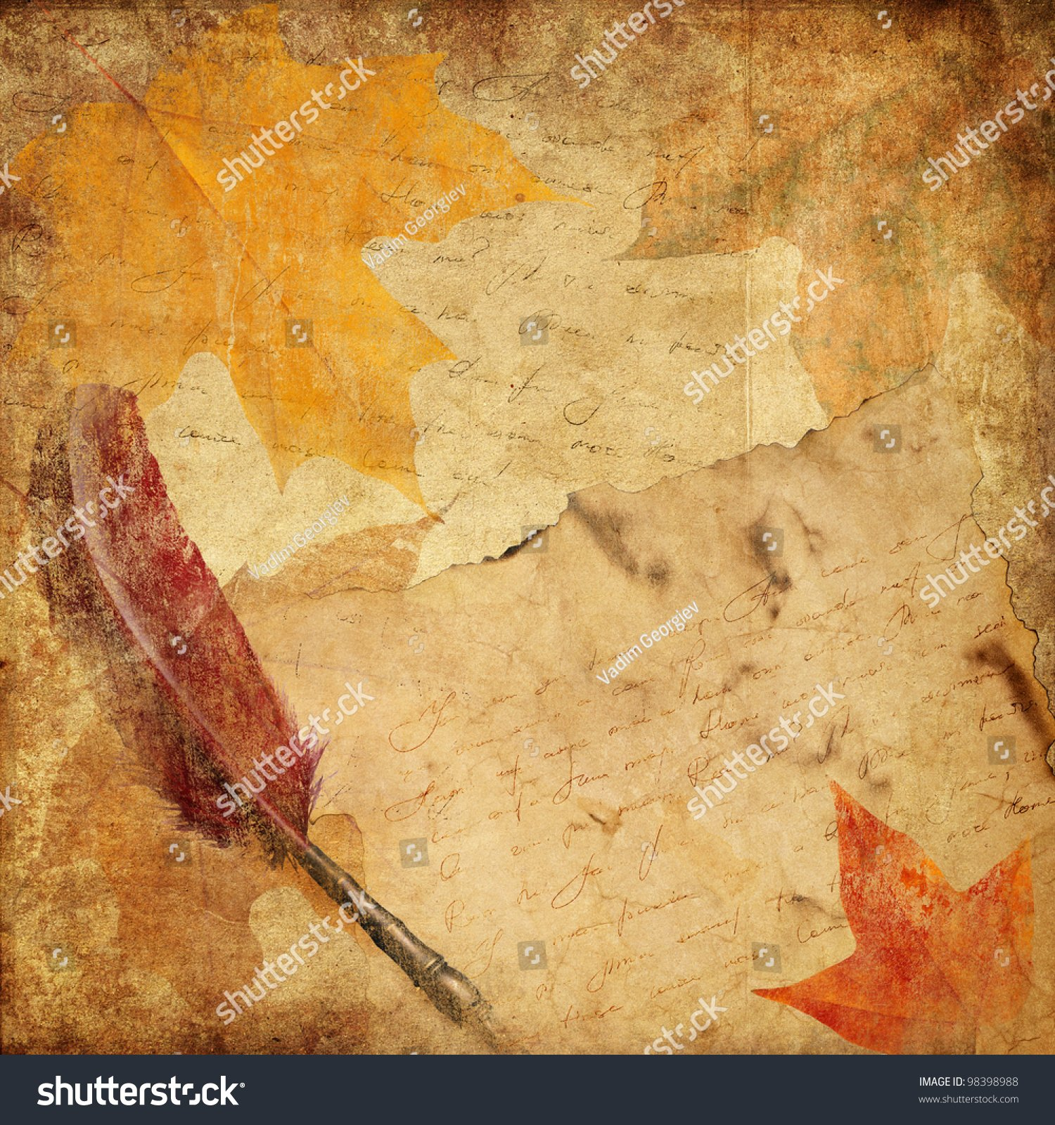 Vintage Background With Letter And Autumn Leaves Stock 1500x1600