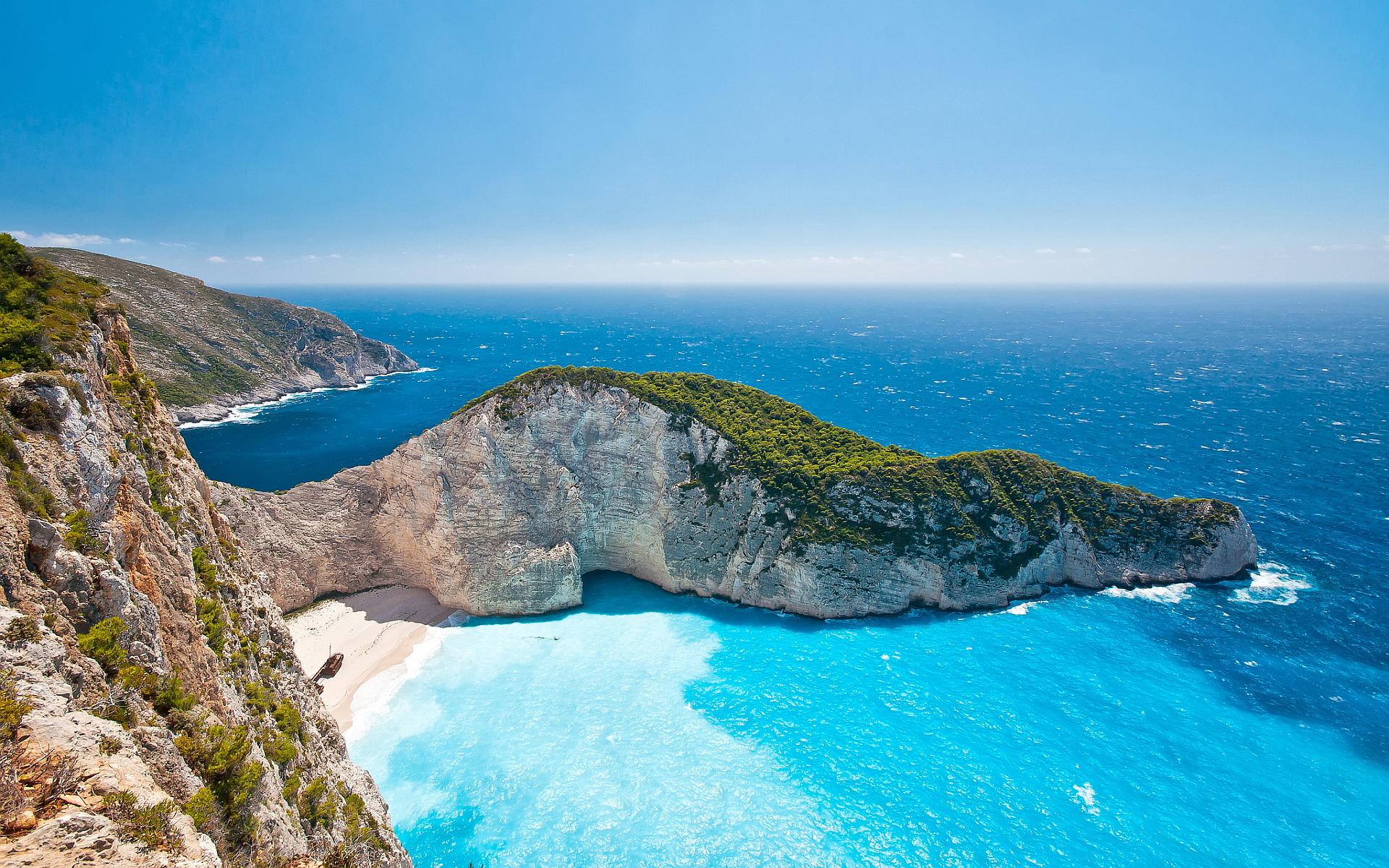 Greece beach zakynthos wallpaper 1920x1200 21499 1920x1200