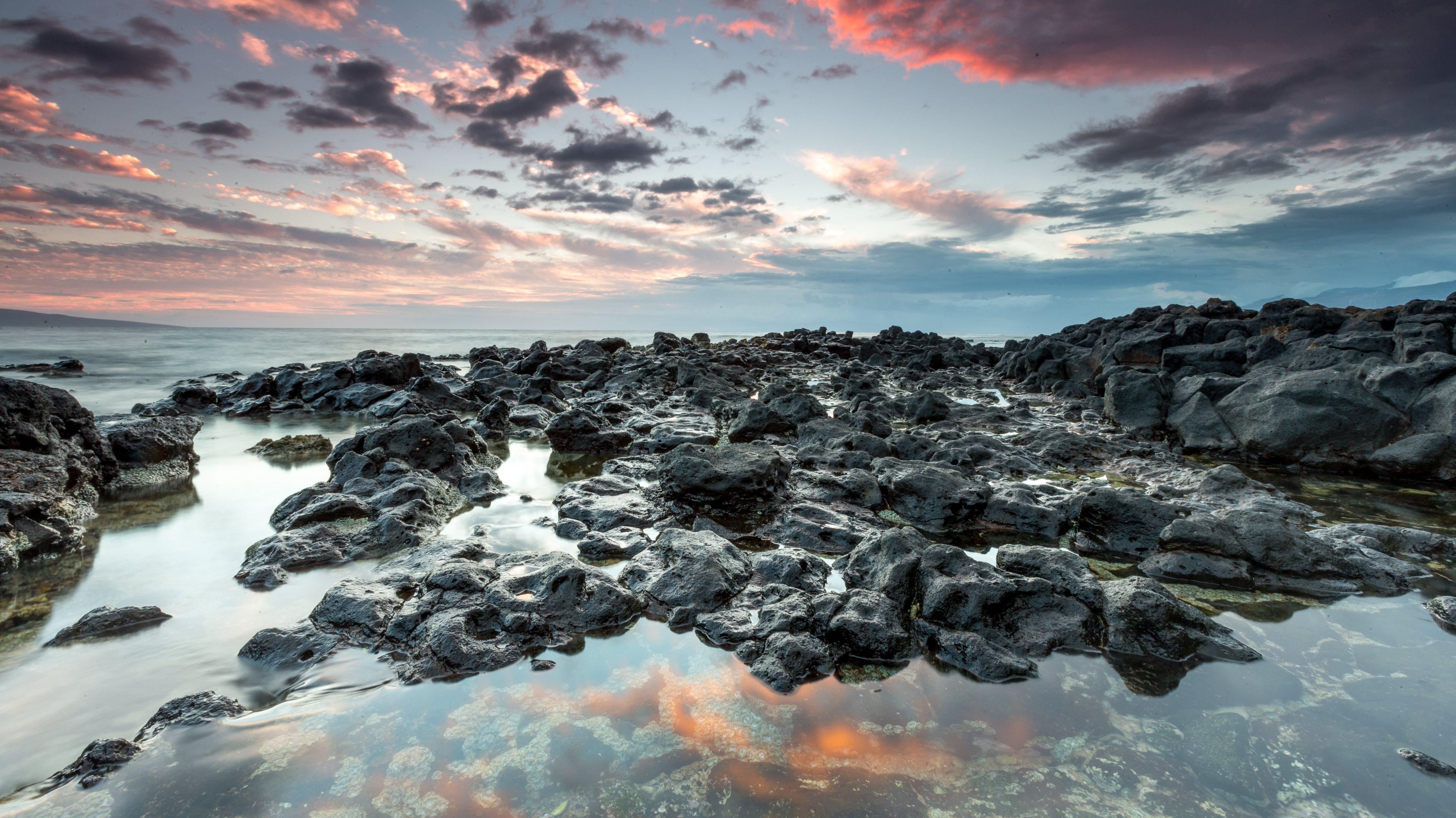 rocks shore skylineultrahdwallpapersjpg 3840x2160