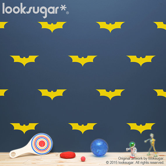 Bat Decal with Wallpaper or Wall Stencil Effect   Bat Wall Pattern 570x570