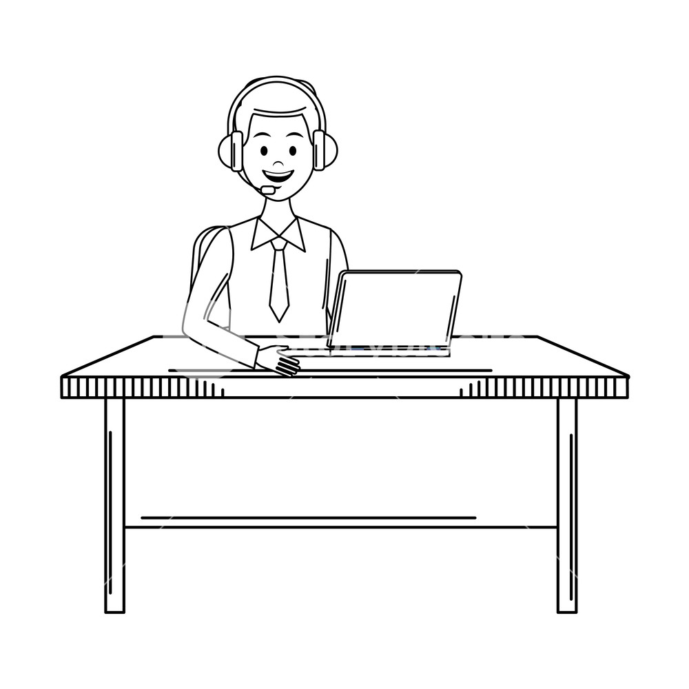 costumer services assistant man with headset and computer drawing 1000x1000