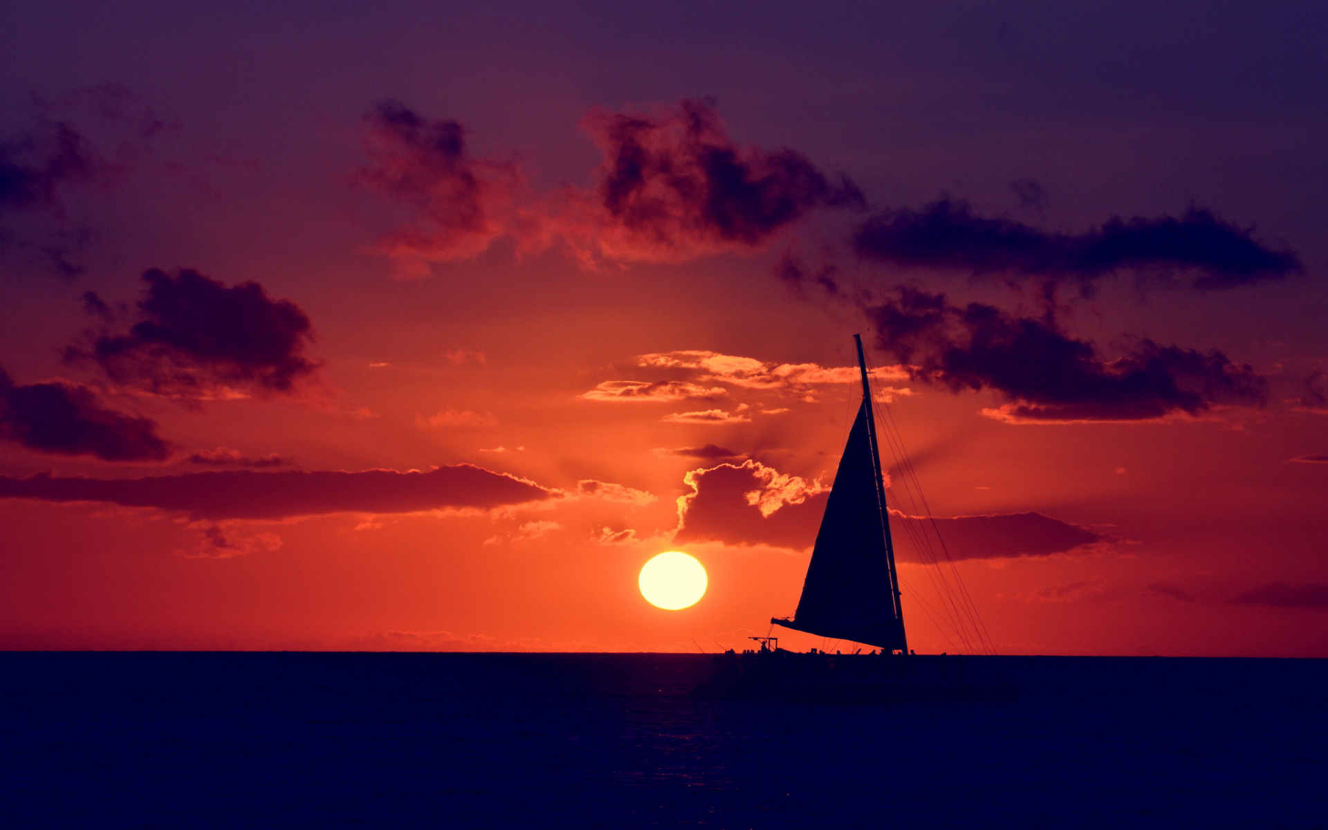Sailing ocean sunset wallpaper 1920x1200 31712 1920x1200