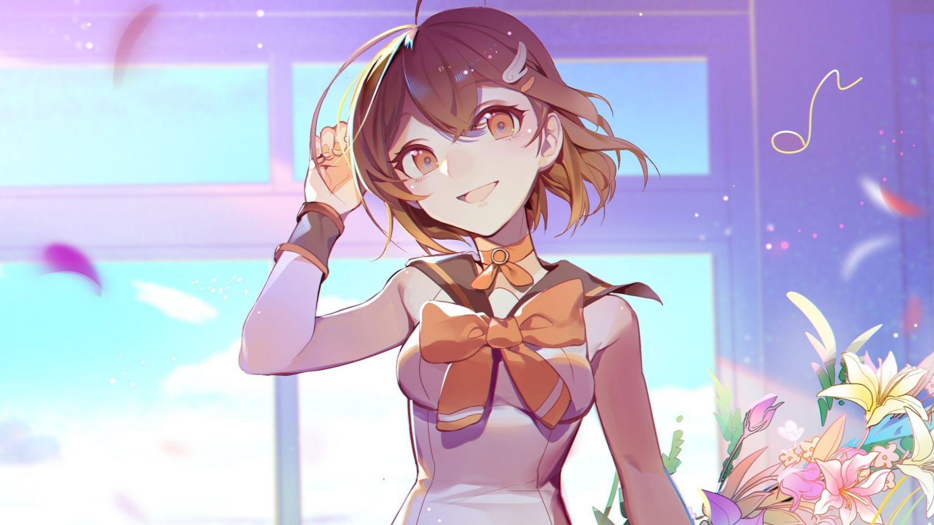 Desktop wallpaper mood happy anime girl cute original hd 1920x1080