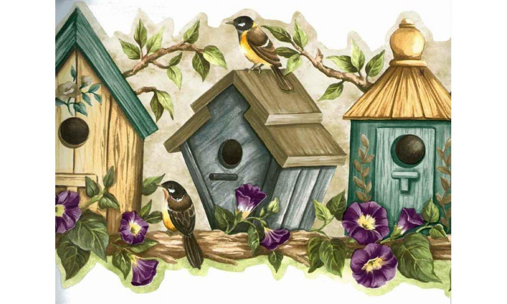 Home Blue Bird Houses Wallpaper Border 1000x600