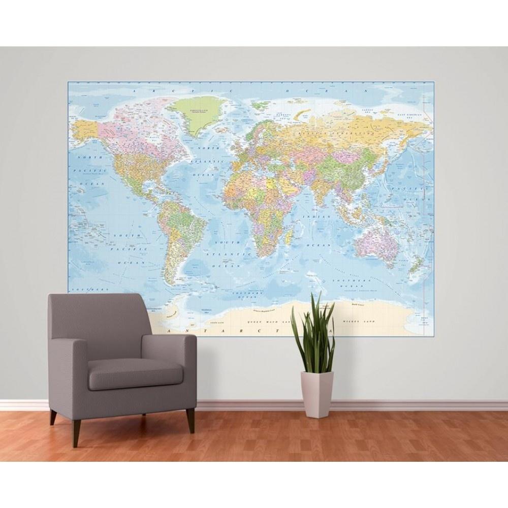 Home Murals 1 Wall 1 Wall Blue World Map Atlas Wallpaper 1000x1000