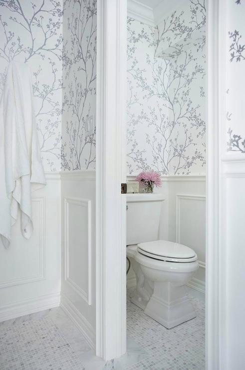 Metallic Silver Wallpaper   Transitional   bathroom   Jennifer Worts 491x740