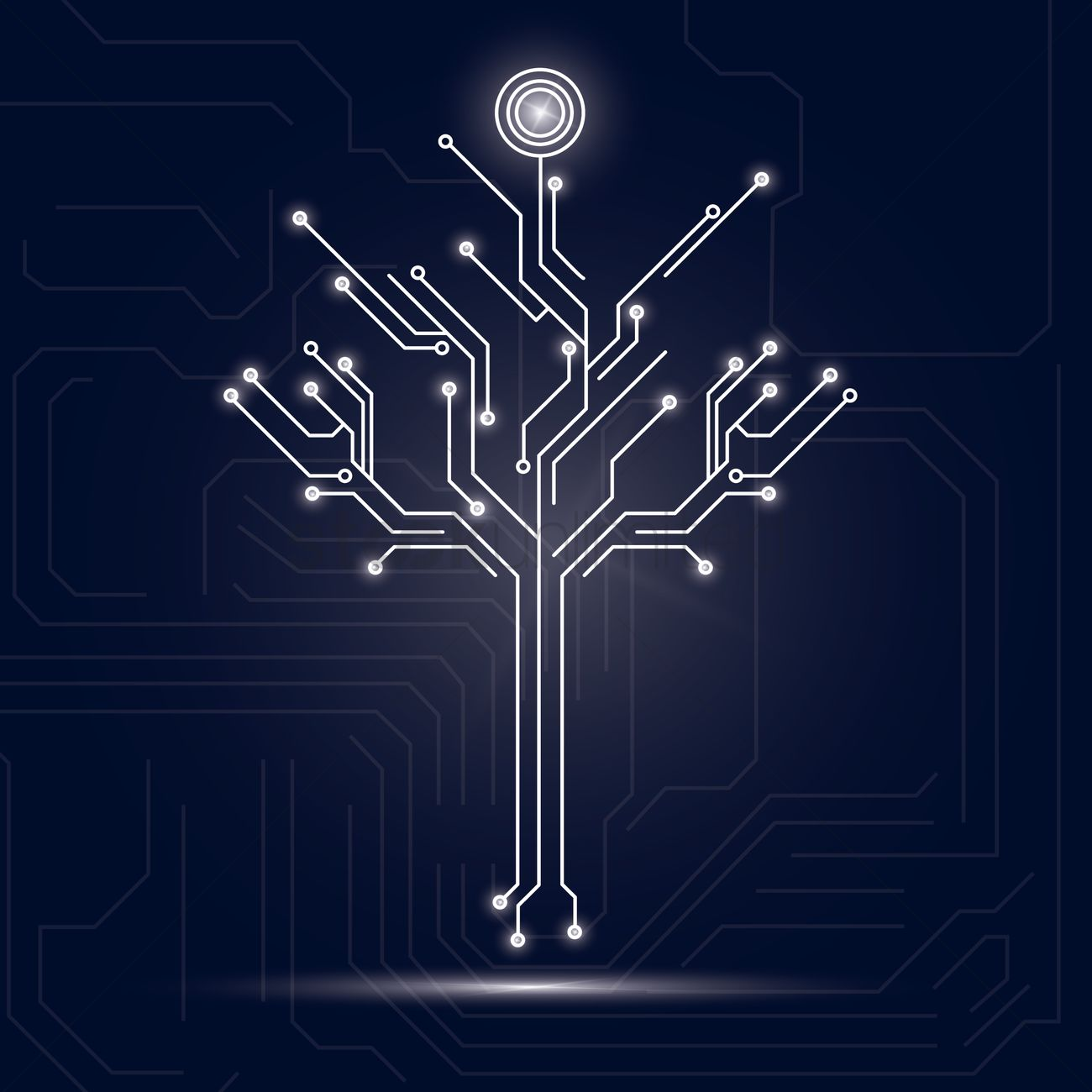 Tree design on circuit board background Vector Image   1646948 1300x1300