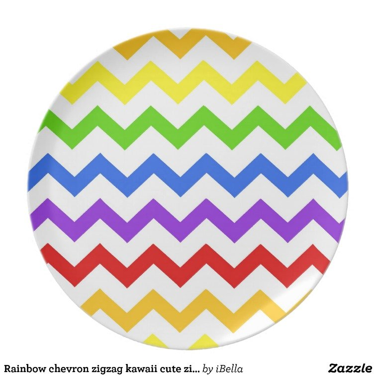 chevron zigzag kawaii cute zig zag pattern party plate 756x756