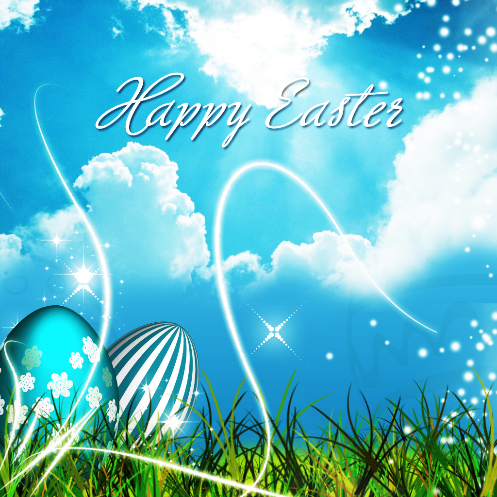Greeting Happy Easter and painted egg in the grass 1024x1024