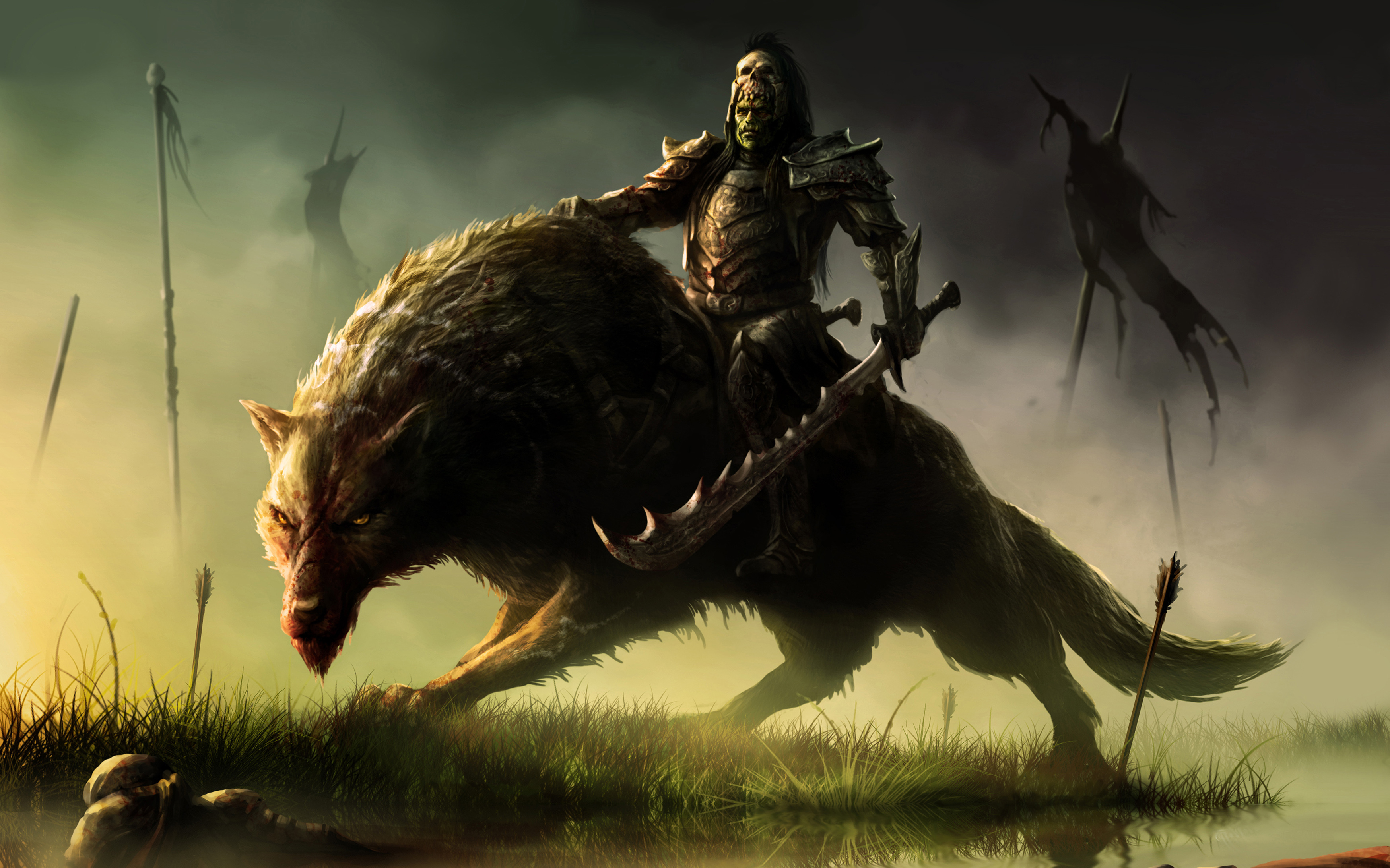 Wallpaper orc rider art warchief fantasy warrior wolf wallpapers 3496x2185