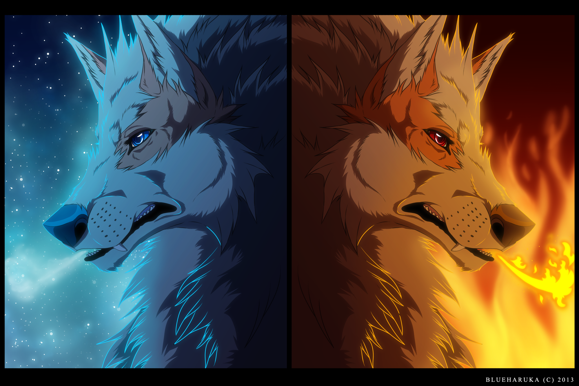 Fire And Ice Wolf Wallpaper Arcanine fire and ice by 1998x1333