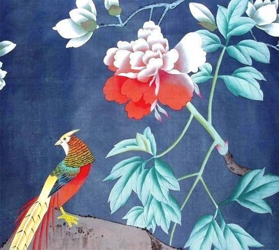 Chinese Hand Painted Wallpaper CHINOISERIE 24   La Chibeau Company 550x493